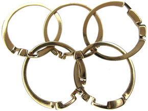Olympic Puzzle Ring metal in Polished Brass (Interlocking Parts)