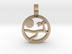 Beach Pendant in Polished Gold Steel