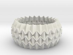 Bracelet WB - Origami Inspired Design   in White Natural Versatile Plastic