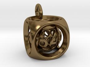 Backgammon Doubling Cube Pendant in Interlocking Polished Bronze: Small