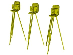 1/24 scale vintage cameras with tripods x 3 in Smooth Fine Detail Plastic