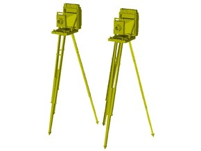 1/24 scale vintage cameras with tripods x 2 in Smooth Fine Detail Plastic