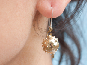Blowfish Earrngs Hooked in Natural Brass