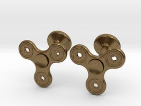 Fidget Spinner Cufflinks - SMALL in Natural Bronze