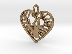 Angel Oak Tree - heart in Polished Gold Steel