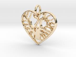 Angel Oak Tree - heart in 14K Yellow Gold