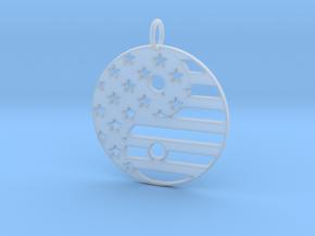 American USA Flag Yin Yang Symbol Pendant Charm in Smooth Fine Detail Plastic