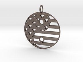 American USA Flag Yin Yang Symbol Pendant Charm in Polished Bronzed Silver Steel