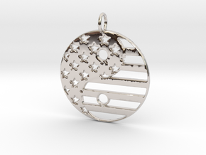 American USA Flag Yin Yang Symbol Pendant Charm in Rhodium Plated Brass