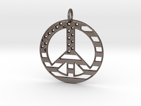American USA Flag Peace Symbol Pendant Charm in Polished Bronzed Silver Steel