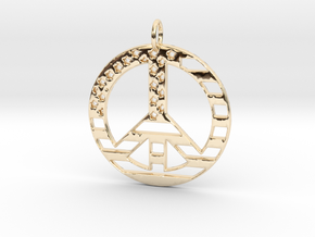 American USA Flag Peace Symbol Pendant Charm in 14k Gold Plated Brass