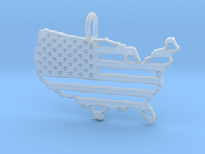 American USA Flag Map Pendant Charm in Smooth Fine Detail Plastic