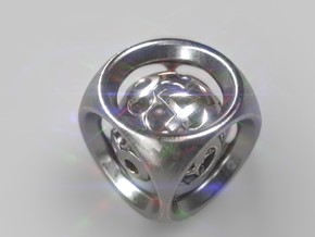 Backgammon Doubling Cube Pendant in Polished Silver (Interlocking Parts): Small