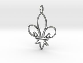 Fleur De Lis Symbol Stylized Lily Pendant Charm in Natural Silver
