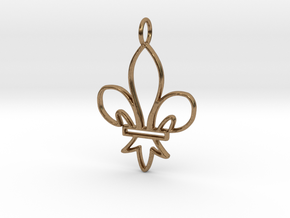 Fleur De Lis Symbol Stylized Lily Pendant Charm in Natural Brass
