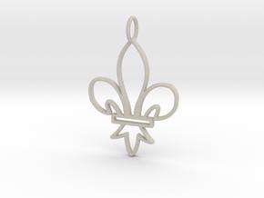 Fleur De Lis Symbol Stylized Lily Pendant Charm in Natural Sandstone