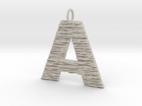 Trendy Modern Monogram A Initial Pendant Charm in Natural Sandstone