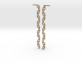 "Double Helix 73 mm (2.9"") Earrings in Natural Brass"