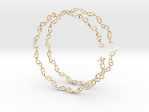 "Double Helix 75 mm (3"") Hoops - curly in 14K Yellow Gold"
