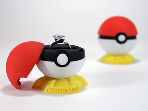 """Pokeball Pokemon Go """"Ring Box"""" (PLASTIC TOP COVER) in Red Strong & Flexible Polished"""