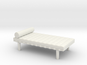 Miniature Barcelona Daybed Couch - Ludwig Van Der  in White Natural Versatile Plastic: 1:48 - O