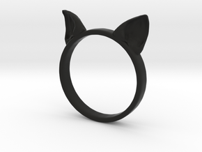 Cat Ears Ring in Black Natural Versatile Plastic: 6 / 51.5