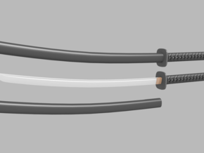 Katana - 1:6 scale - Curved Blade - Tsuba in Frosted Ultra Detail