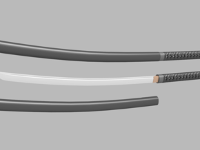 Katana - 1:6 scale - Curved Blade - No Tsuba in Frosted Ultra Detail
