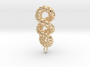 Cruller - A Pendant in Metal in 14k Gold Plated Brass