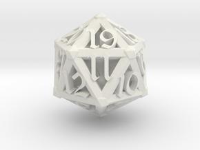 Lattice work D20 with 3D #'s in White Natural Versatile Plastic