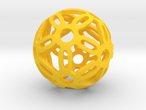 Dodecahedron sphere in Yellow Processed Versatile Plastic
