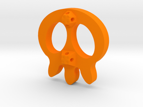 Skull Button in Orange Processed Versatile Plastic