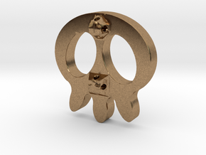 Skull Button in Natural Brass