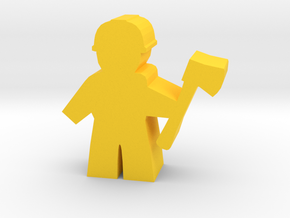 Game Piece, City Worker with axe in Yellow Processed Versatile Plastic