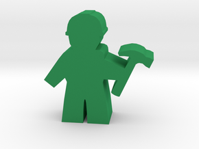 Game Piece, City Worker with hammer in Green Processed Versatile Plastic