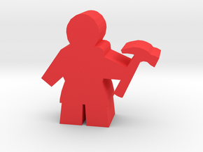 Game Piece, Worker with hammer in Red Processed Versatile Plastic
