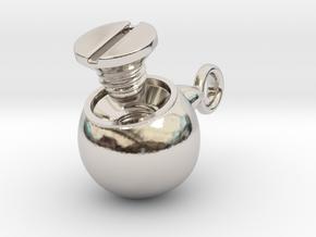 Locked Urn Pendant in Rhodium Plated Brass