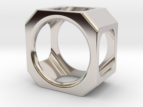 CELLS RING S7 in Rhodium Plated Brass: 7 / 54