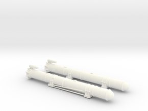 1/72 Scale Mk 18 PT Boat Torpedo Tubes Loaded No B in White Processed Versatile Plastic