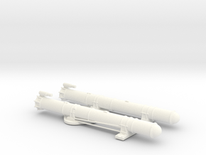 1/72 Scale Mk 18 PT Boat Torpedo Tubes Loaded in White Processed Versatile Plastic