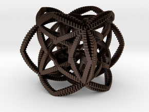 Spirograph Cube in Polished Bronze Steel: Small