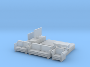 N Scale House Furniture Modern in Smooth Fine Detail Plastic