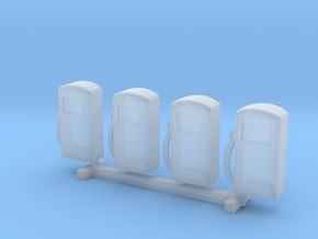N Scale '60s Gas Pumps 4pc in Smooth Fine Detail Plastic