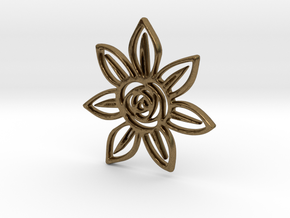 Abstract Rose Flower Pendant Charm in Natural Bronze