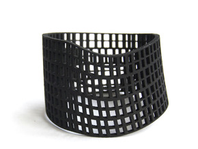 Twisted Cube cuff in Black Natural Versatile Plastic