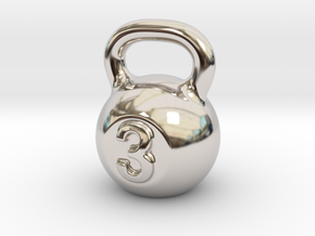 Little Kettlebell For You in Rhodium Plated Brass