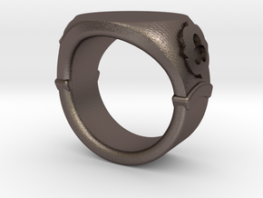 Seal Ring Trefoil - embossed in Polished Bronzed Silver Steel: 5.5 / 50.25