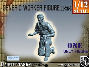 1-12 Generic Worker Figure 11-26-5 in White Natural Versatile Plastic