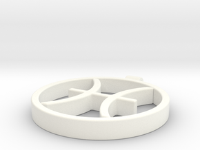 Pisces Zodiac Sign Pendant in White Processed Versatile Plastic