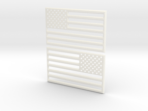 American Flag 3D Print STL V2 in White Strong & Flexible Polished
